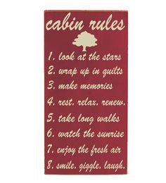 Sign - Cabin Rules - Typography Word Art - Primitive Rustic Cabin Lake ...