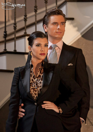 Kourtney Kardashian and Scott Disick pose for a retro style Christmas ...