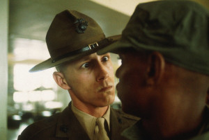 US Marine drill instructor delivers a severe reprimand to a recruit ...