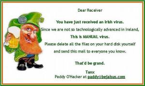 ... Virus, Irish computer joke manual virus, funny leprechaun picture