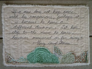 Quilted Quote by Henry David Thoreau Poetry Quilt Different Drummer