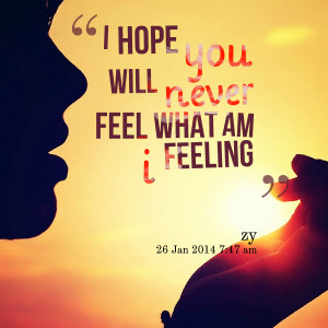 Quotes Picture: i hope you will never feel what am i feeling