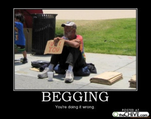 Giving money to 'beggars' in the street
