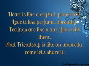 Friendship is like an umbrella Friendship SMS Quotes Image