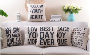 ... style letter famous quotes old saying pillow car cushion pillow case