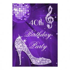 Sparkle Heels Purple Disco Ball 40th Birthday Personalized Invite