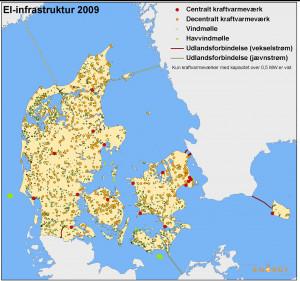 Kortene viser Danmarks elproducenter samt el-udlandsforbindelser i ...