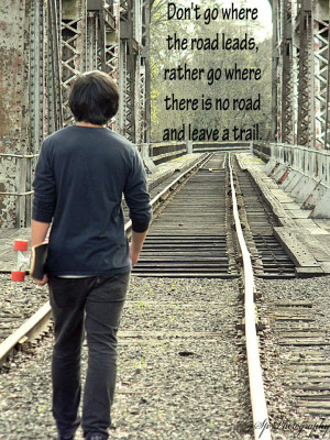 Train Tracks & Quote for Teen Boy Photo