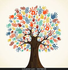 Isolated diversity tree hands stock vector clipart, Isolated diversity ...