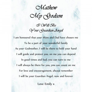 Personalised Scroll A5 Godson Christening Poem Gift From Godmother