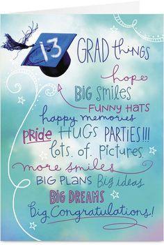 13 Grad Things Graduation Congratulations Card