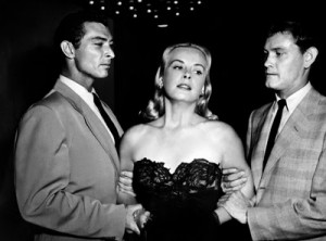 With Jean Wallace and Earl Holliman in The Big Combo (1955).