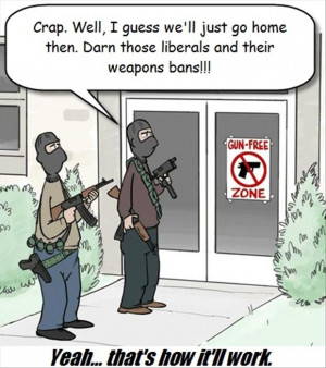 funny pictures, gun free zone