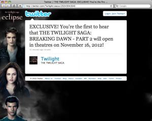 Breaking Dawn (Amanhecer) - parte 2...só em novembro de 2012