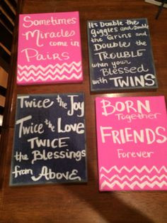 Twins quotes. Twins ideas. Boy and girl twins. Canvas art. Quotes More