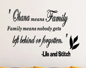 Ohana Means Family Lilo And Stitch Inspirational Quotes Wall Decal ...