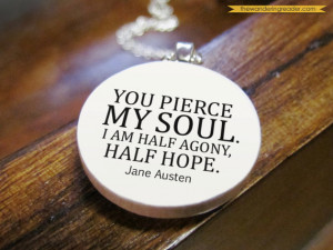 Romantic Jane Austen English Literature Quote Necklace