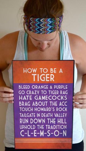 Clemson Tigers Art Print, Clemson Tigers Quote Poster Sign, Clemson ...