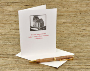 house without books - Heinrich Mann quote - letterpress card