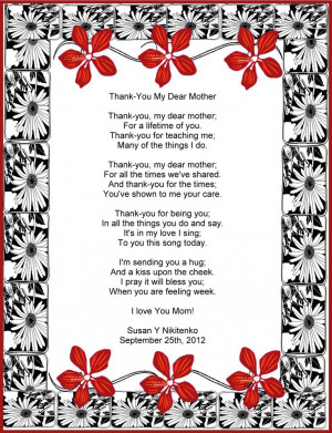 Praise: Thank-You My Dear Mother Mommy Quotes, Beloved Mothers, Quotes ...