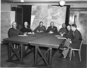 Eisenhower meets with his commanders in January 1944. Far left is Lt ...