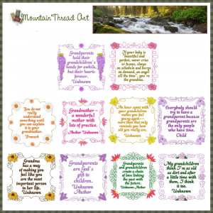 ... Wildflowers :: Wildflower Grandparent Quotes 'N Quilt Block Set 2