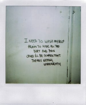 dirt, pain, polaroid, quote, quotes, radiohead, song, text, wash ...