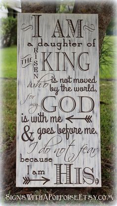 ... Wood, Typography Word Art, I am Daughter of King, Christian Sign More