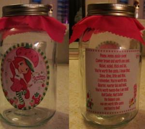 Strawberry Shortcake New Mason Jar Bank