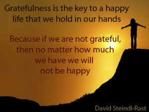 Happiness quote – Gratefulness is the key to a happy life