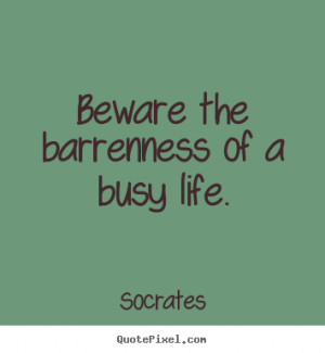 Beware the barrenness of a busy life. - Socrates. View more images...