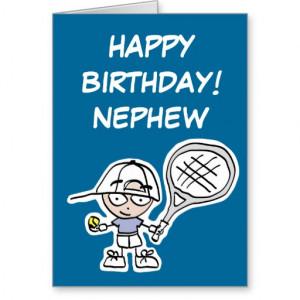 Nephew Birthday card with little tennis boy