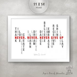 NEVER GIVE UP 11x14 Inspirational Quote Poster / Inspirational Word ...