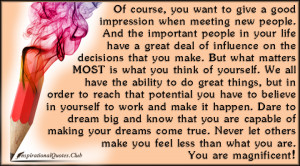 InspirationalQuotes.Club - want, good impression, meeting, people ...