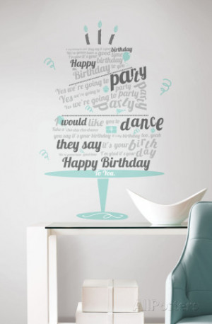 Happy Birthday Beatles Quote Peel & Stick Wall Decals Wall Decal