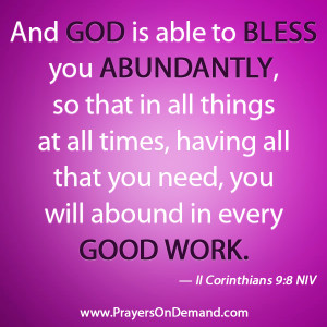 ... you bless me with the wisdom and discernment god blesses me abundently