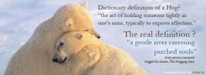 Facebook cover image with the dictionary definition of a hug and the ...