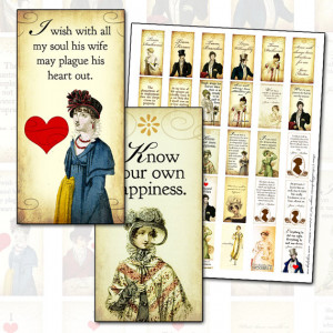 Jane Austen Quotes Sense and Sensibility 1x2 inch domino digital ...