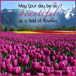 Beautiful day like field of flowers quote via Start from the Heart at ...
