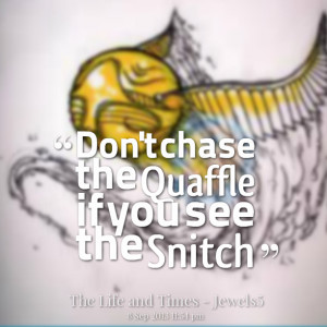 Snitch Quotes Quotes picture: don't chase