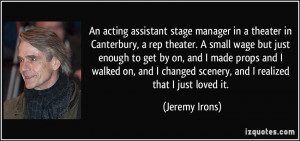 An acting assistant stage manager in a theater in Canterbury, a rep ...