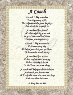 Softball Quotes For Coaches A coach poem