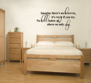 Black Imagine (John Lennon) Lyric wall decal in a bedroom