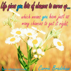 Life gives you lots of chances to screw up which means you have just ...