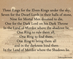 Three Rings for the Elven-Kings under the sky,Seven for the Dwarf ...