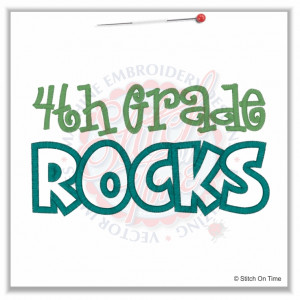 4937 Sayings : 4th Grade Rocks Applique 5x7