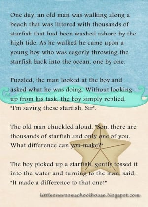 Making A Difference Quotes | starfish quote making a difference ...