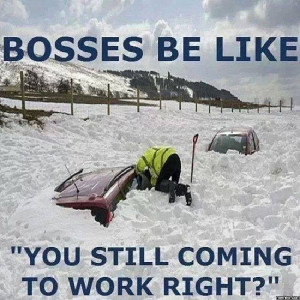 bosses be like.. you still coming to work, right