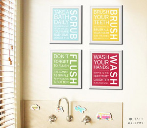 Bathroom art prints. Bathroom Rules. Kids bathroom wall by Wallfry, $ ...