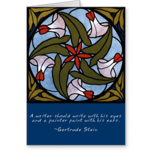 White Morning Glories - Gertrude Stein Quote Card